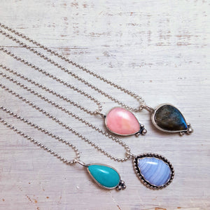 Sweetheart Necklace in Pink Opal -- .925 Sterling Silver Pendant Silver Chain