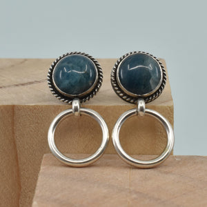 Post Hoops in Apatite - Apatite Hoops - Apatite Door Knocker Earrings - Silversmith