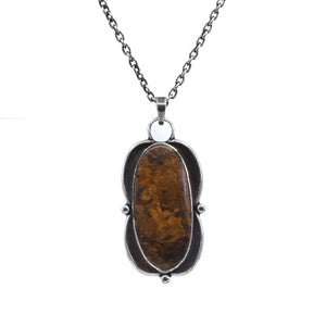 Bronzite Pendant -  Sterling Silver Chain - Silversmith Pendant - Large Brown Pendant