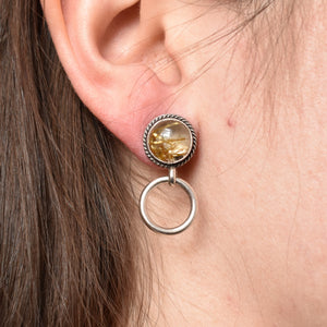 Semi-Precious Post Hoops - Golden Rutilated Quartz Posts - Silversmith Hoop Earrings