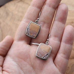 Sonora Jasper Earrings - Earthy Jasper Drop Earrings - OOAK Silversmth Earrings