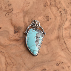 Turquoise Pendant - OOAK Silversmith Pendant - Turquoise Necklace - Sterling Silver Chain