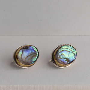 Rainbow Abalone Earrings - Abalone French Back Earrings - Gold and Sterling Silver