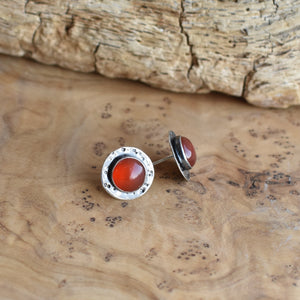 Red Agate Posts - Red Agate Studs - Textured Post Earrings - Silversmith Posts   - Sterling Silver Posts