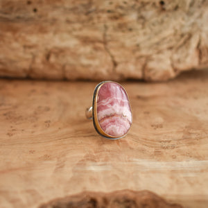 Big Rhodochrosite Ring - .925 Sterling Silver - Silver and Gold Ring - Silversmith Ring - OOAK