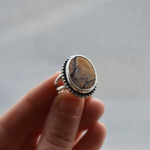 Beaded Sonora Boho Ring - Sonora Jasper Ring - .925 Sterling Silver Ring - Silversmith Ring