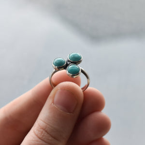 Tri-Stone Turquoise Ring - Turquoise Three Stone Ring - Turquoise Stacker - Unique Silversmith