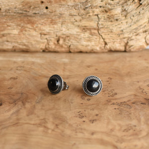 Western Black Onyx Posts - Black Onyx Earrings - Black Onyx Studs - Silversmith Posts