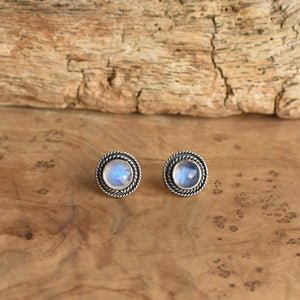 Rainbow Moonstone Posts - Western Moonstone Earrings - Silversmith Posts - Hand Made