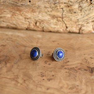 Western Lapis Posts - Lapis Earrings - Lapis Studs - Silversmith