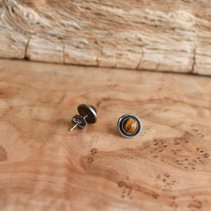 Edge Tigers Eye Posts - Tigers Eye Studs - Silversmith Earrings - Tigers Eye Earrings