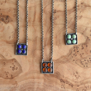 Turquoise Tile Necklace  - New Lander Turquoise Pendant - Silversmith Necklace - Unique Jewelry