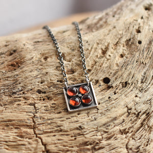 Carnelian Tile Pendant - Multi-Stone Pendant - Orange Carnelian Necklace - Ladysmith