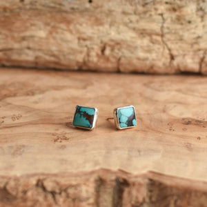 Square Turquoise Posts - Turquoise Studs - Sterling Silver Posts - Silversmith Turquoise Earrings