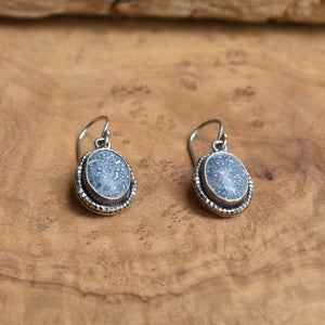 Blue Sponge Coral Earrings - Hammered Silver Drop Earrings - .925 Sterling Silver - Silversmith