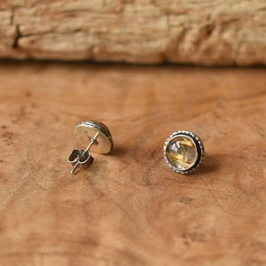 Golden Rutilated Quartz Posts - Hammered Post Earrings - Silversmith Earrings - 8mm Stones