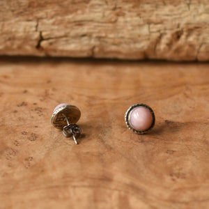 Hammered Pink Opal Posts - Textured Post Earrings - Sterling Silver Posts - Pink Opal Posts - Sterling Silver Posts