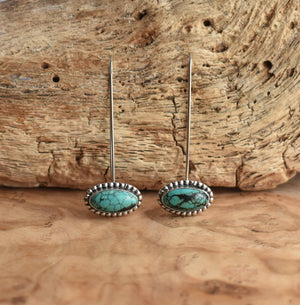 Long Drop Earrings in Turquoise - .925 Sterling Silver - Turquoise Threader Earrings