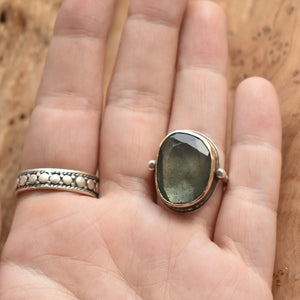 Moss Aquamarine Ring - 14KT Solid Gold - Silversmith Ring - Gold Aquamarine Ring