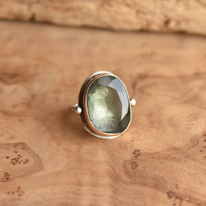 Moss Aquamarine Ring - 14KT Solid Gold - Silversmith Ring - Deep Sea Ring - Gold Aquamarine Ring