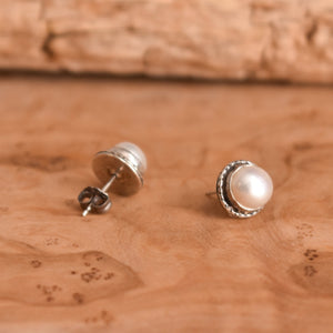 Freshwater Pearl Posts - Hammered Posts - .925 Sterling Silver - Mabe Pearl Earrings