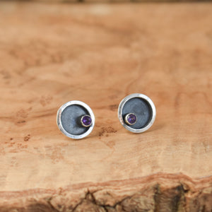 Sterling Silver Posts - Choose Your Gemstone - Amethyst Posts - CZ Studs - Citrine Posts, Rhodolite Garnet Studs