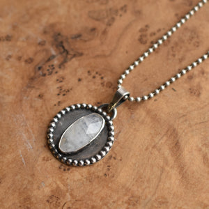 Rainbow Moonstone Pendant - .925 Sterling Silver - Silversmith Moonstone Necklace
