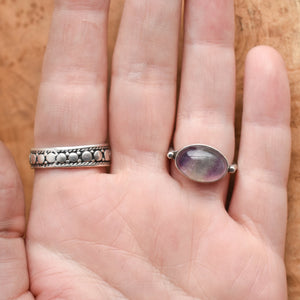East West Oval Ring - Rainbow Fluorite Ring - .925 Sterling Silver - Silversmith Ring