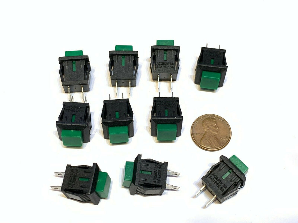 10 Pieces square Green DS-430 push button switch Latching normally open no A27