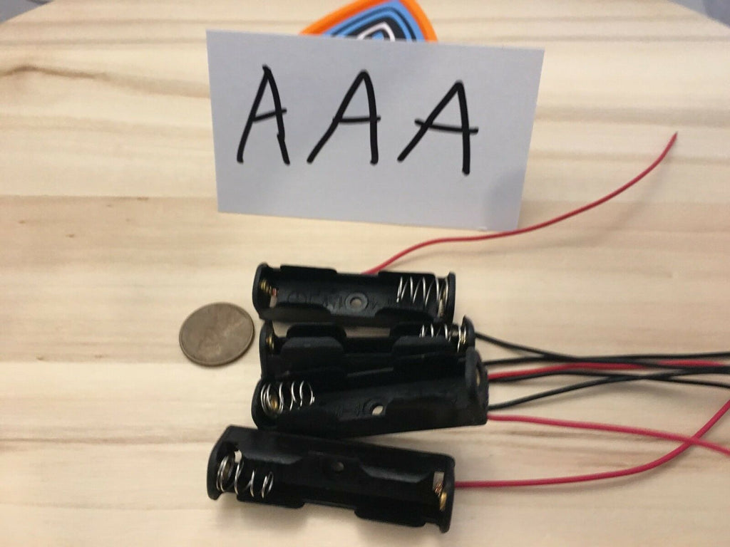 4 Pieces - AAA One Storage Holder Case Box 1 Battery Wire Black plastic A11
