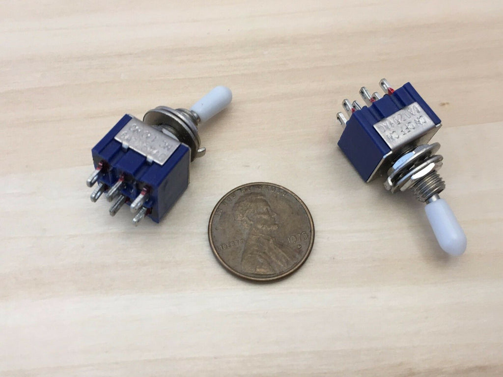 2 x White Sleeve cap Latching 6 Pin DPDT ON OFF ON Toggle Switch 6A 125VAC B24