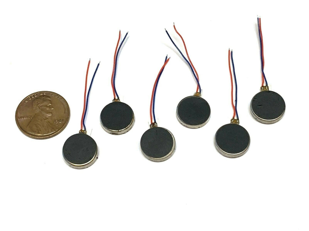 6 Pieces Vibration coin motor 12mm adhesive micro mini pancake cell 3mm 3v B14