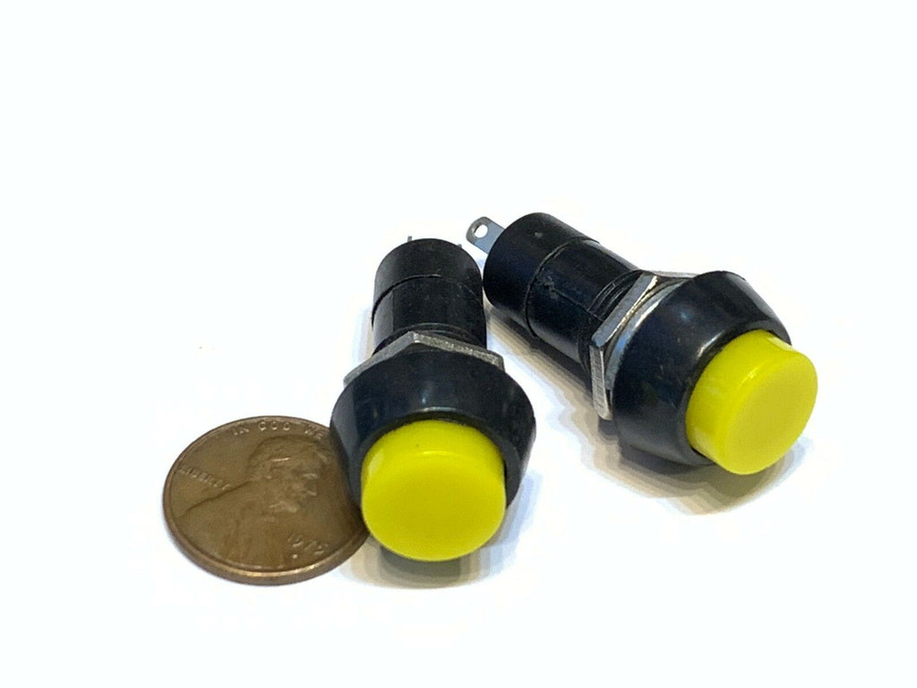 2 Pieces Yellow Latching PUSH BUTTON SWITCH DC 6A N/O normally open on/off C30