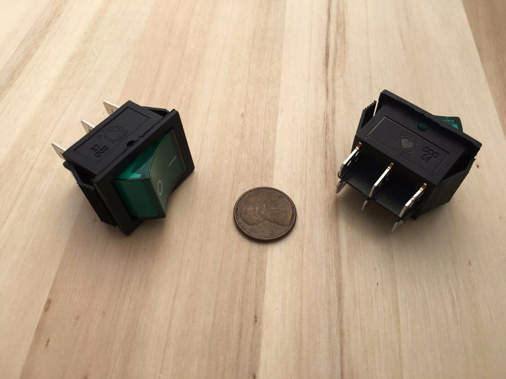 2 Pieces Green KCD4 latching Black Rocker switch on off 6 pin C37