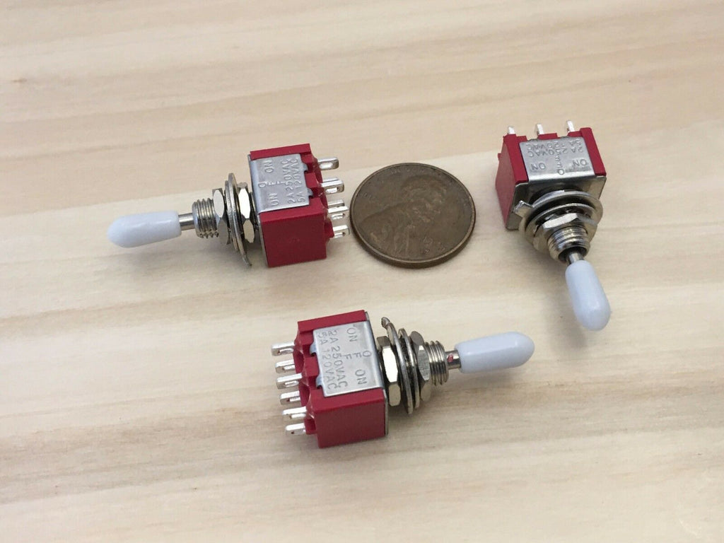 3 Sleeve White cap Momentary Mini Toggle Switch (ON)-OFF-(ON) 6 pin 1/4 A5