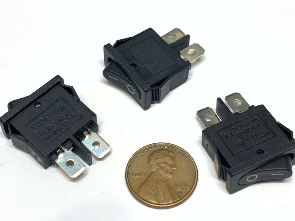 3 Pieces Black slim Rocker Switch SPST 10a 12v KCD1-110 3v latch On Off 2 Pin B8