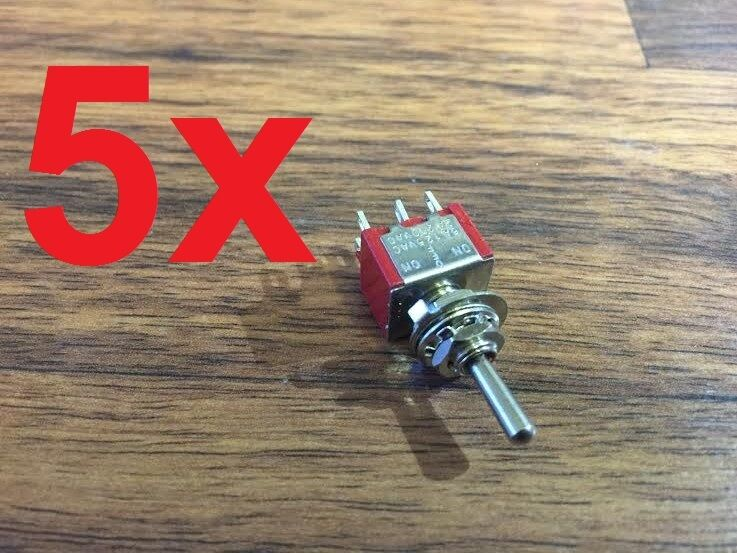 5x DPDT Momentary-Off-Momentary ON/OFF/ON Toggle Switches 5A 1/4 (on)off(on) a5