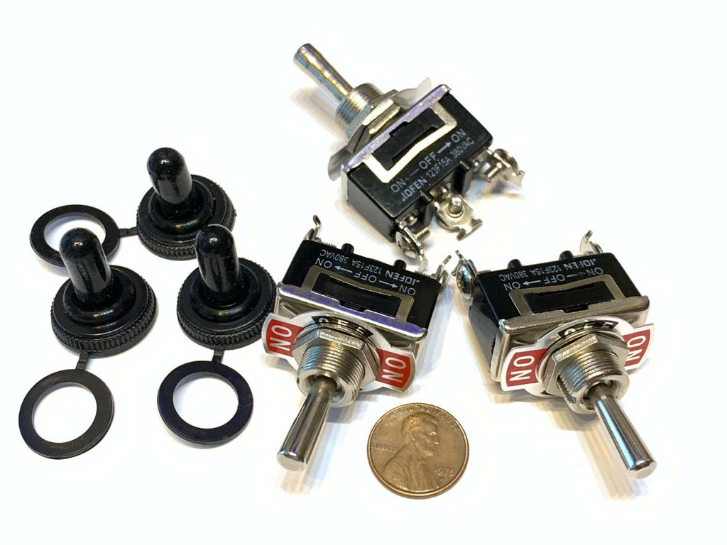 3 Pieces Black waterproof 15a spdt 3PIN momentary Toggle switch (ON)OFF(ON) C25