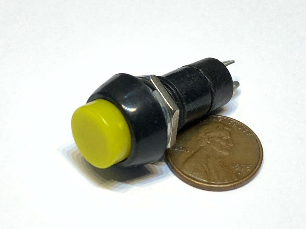 1 Piece Yellow momentary PUSH BUTTON SWITCH DC 6A N/O normally open on/off C11