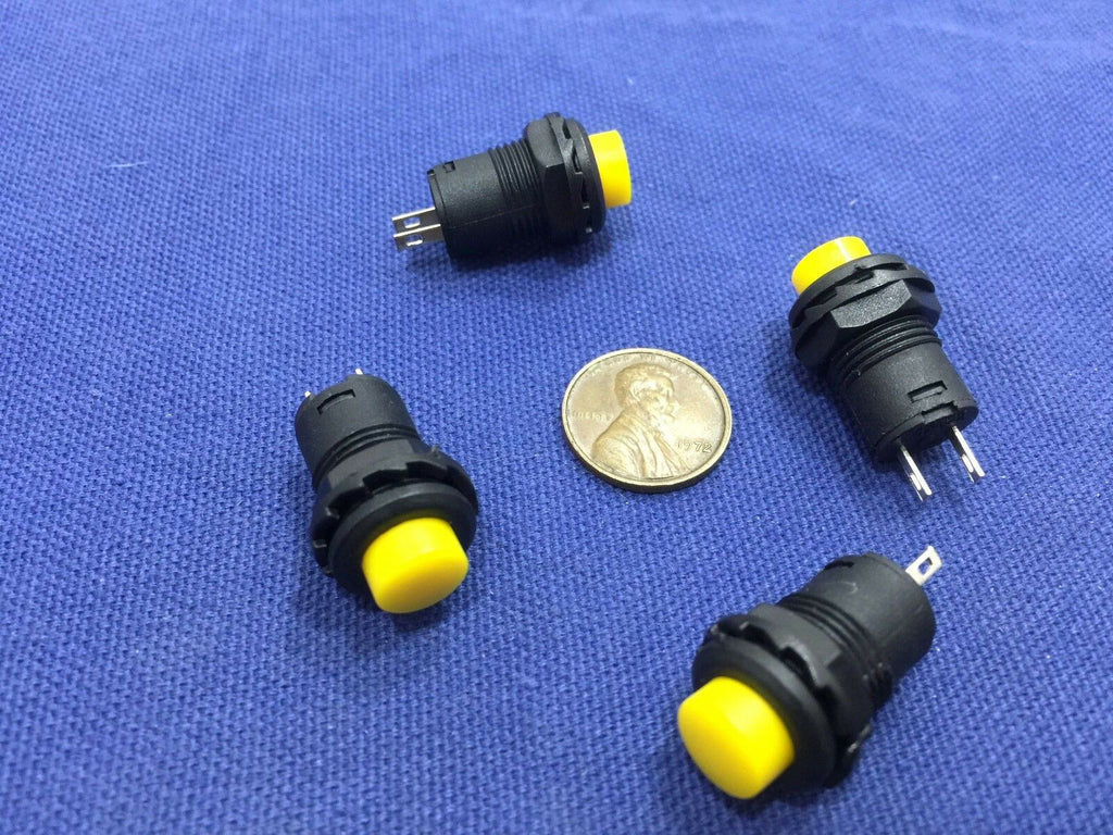 4 Pieces Yellow small N/O Momentary 12mm push button Switch round 12v on off C2