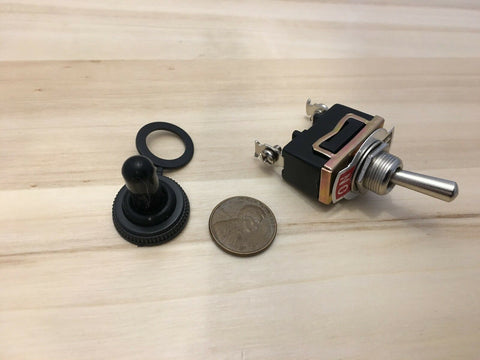 1 Piece Black waterproof cap On Off 2 pin SPST Metal Toggle Switch 15a 1/2 c19