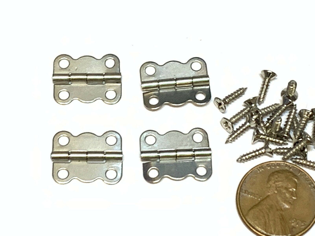 4 Pieces Silver 16 x 13 Butterfly  latch hook Hinge small mini doll wood box A15