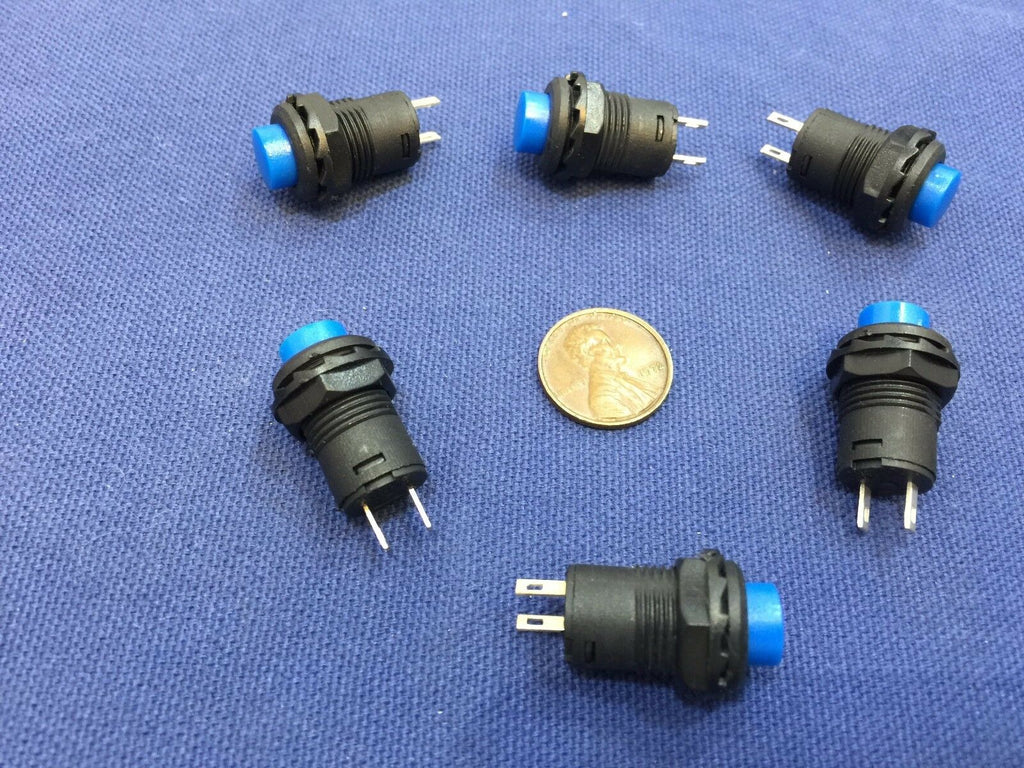6 Pieces BLUE Momentary 12mm pushbutton Switch round push button 12v on off b22