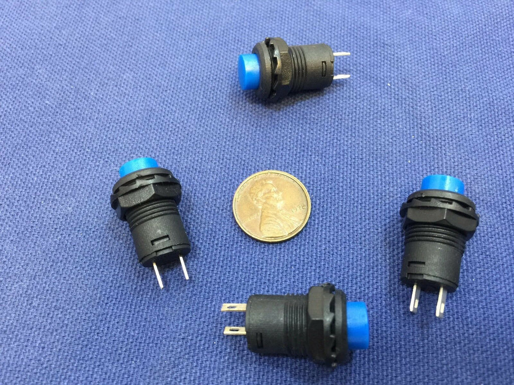 4 Pieces BLUE Momentary 12mm pushbutton Switch round push button 12v on off b22