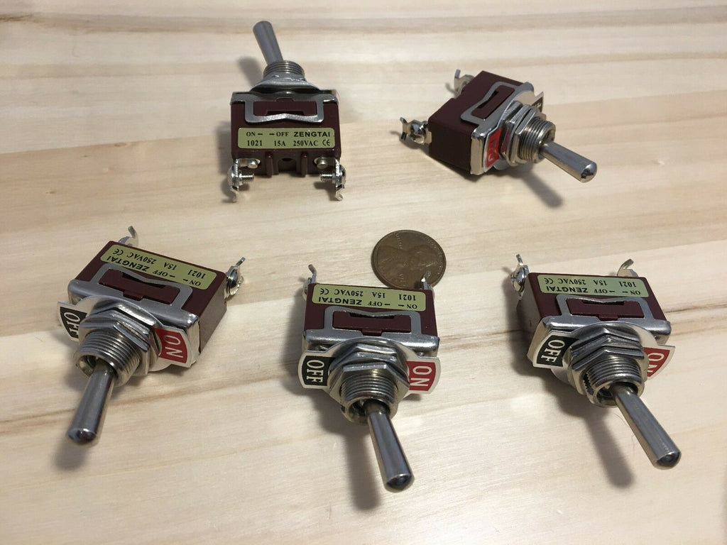 "5 Pieces On/Off  SPST Metal Toggle Switch AC 1250v car 15A dc 12v 1/2"" hole c18"