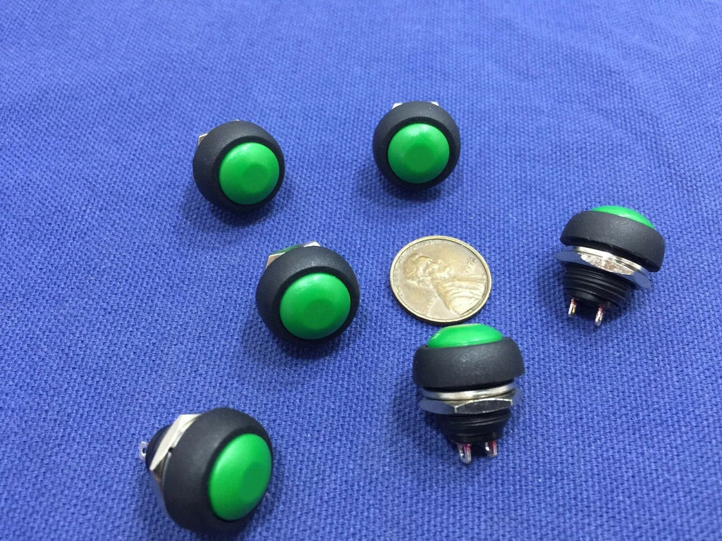 6 Pieces GREEN N/O  12mm Round Momentary Push Button Switch 3A 250VAC C2