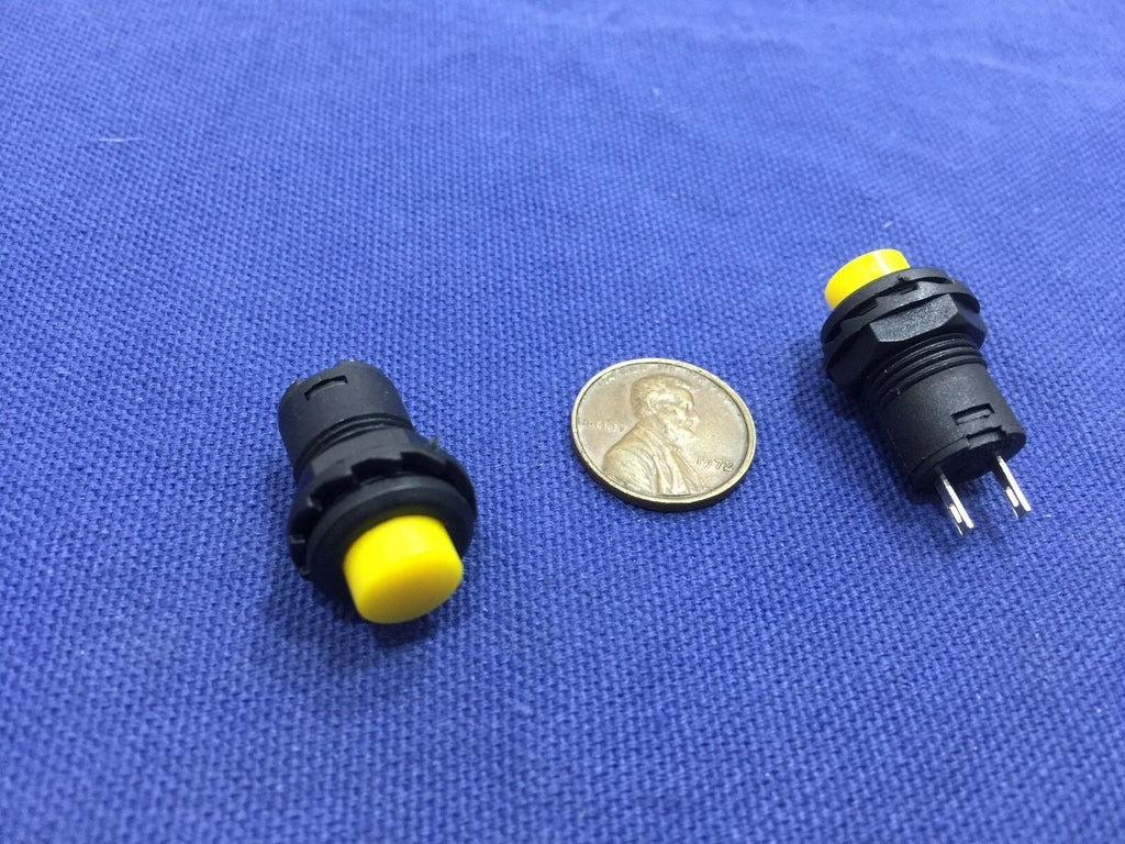 2 Pieces Yellow small N/O Momentary 12mm push button Switch round 12v on off C2