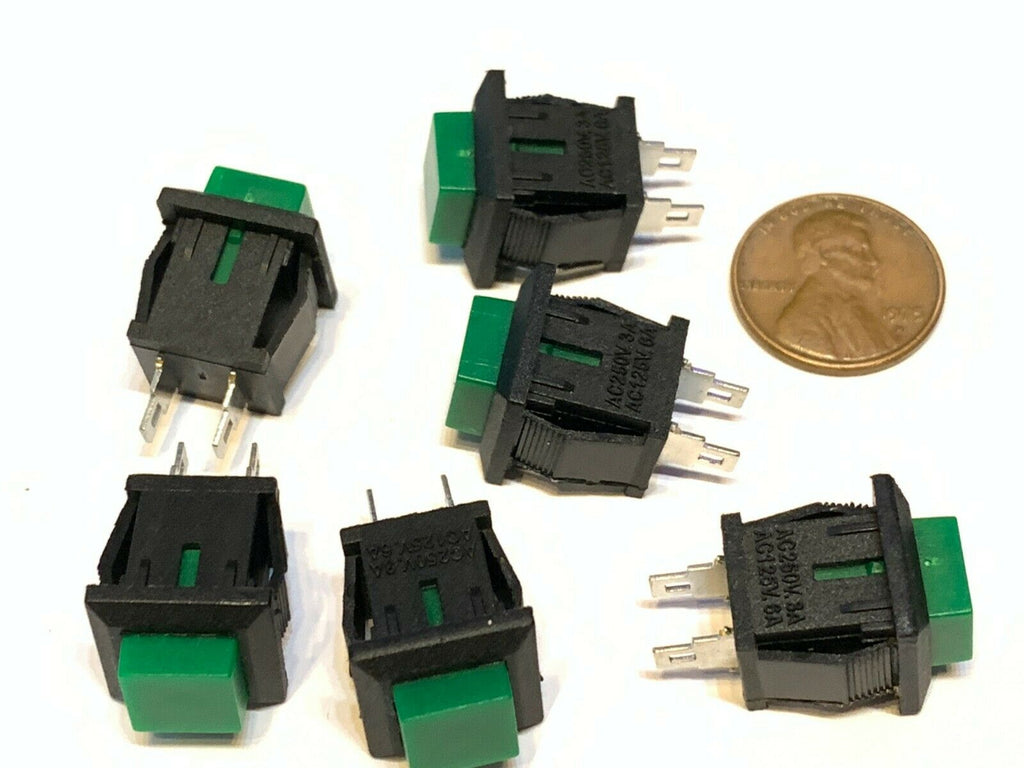 6 Pieces square Green DS-430 push button switch Latching normally open no A27