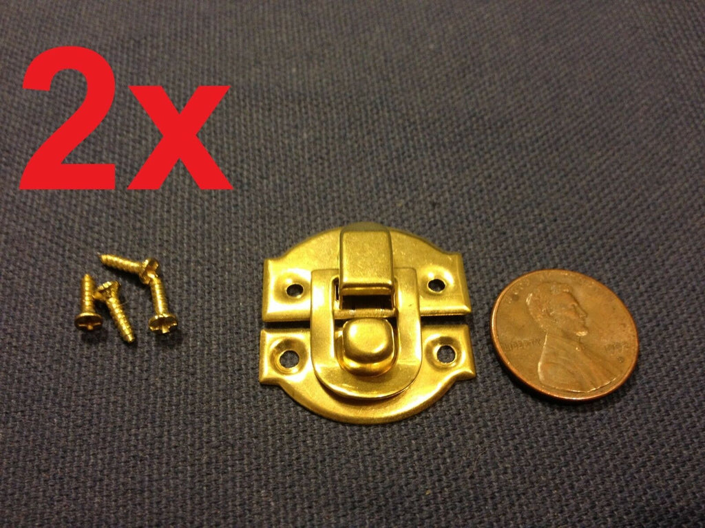2 sets GOLD mini dollhouse Antique wood latch Sets Box Case Lock hinge small c6