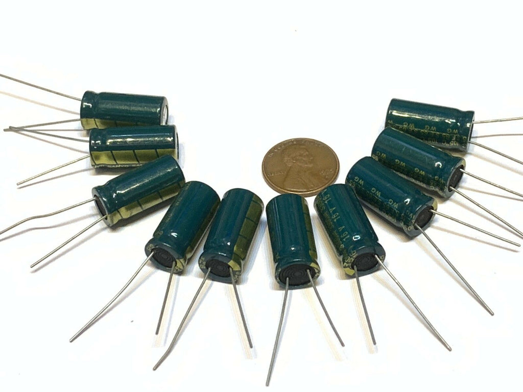 10 Pieces Green 3300uF 16V Electrolytic Capacitor Aluminum Radial B27
